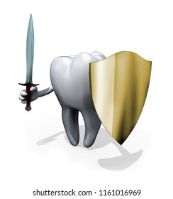 Tooth with sword and shield, 3d illustration