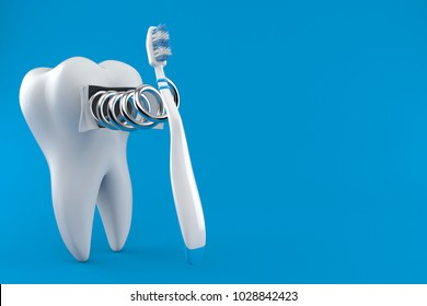 Tooth with toothbrush isolated on blue background. 3d illustration