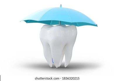 A tooth under an umbrella, isolated on white background. Protect health, insurance concept, dental, medical care. 3d illustration