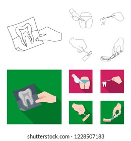 Tooth, X-ray, instrument, dentist and other web icon in outline,flat style.surgeon, abscess, scalpel icons in set collection.