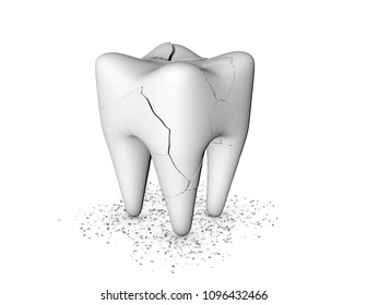 Toothache, dental care concept. Unhealthy, cracked and broken teeth on white background 3d rendering.