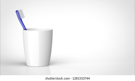 toothbrush blue and cup left 3d rendering