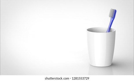 toothbrush blue and cup right 3d rendering