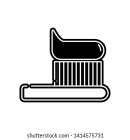 Toothbrush tooth brush with toothpaste line art icon. Element of Dantist for mobile concept and web apps icon. Glyph, flat icon for website design and development, app development