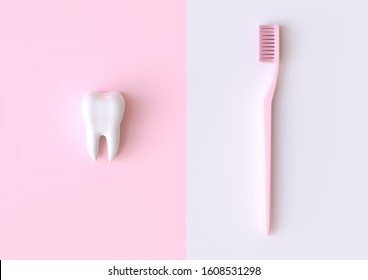 Toothbrush and white tooth on a pink background. Concept of dental examination teeth, dental health and hygiene. 3d rendering illustration