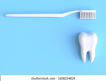 Toothbrush and white tooth on a yellow background. Concept of dental examination teeth, dental health and hygiene. 3d rendering illustration