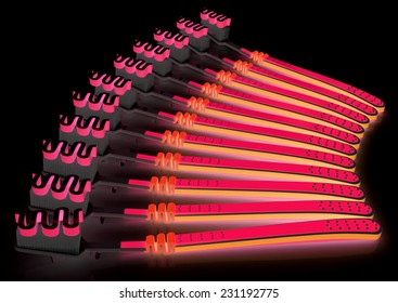 Toothbrushes on a black background