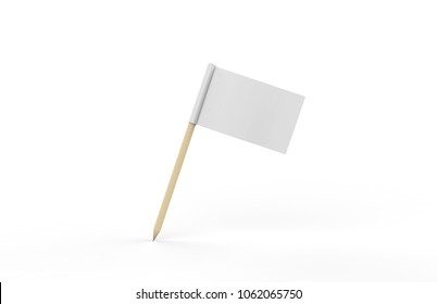 Toothpick Flag Mock up On Isolated White Background, 3D Illustration