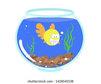 toothy yellow fish in a fishbowl among soil and algae