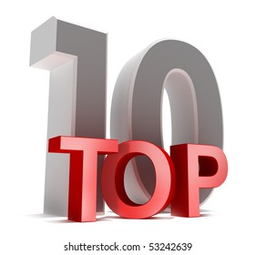 Top 10. 3D concept isolated on white.