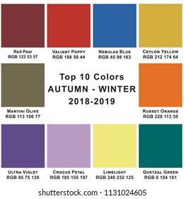 Top 10 Colors Winter  2019. Trendy colors of a season.