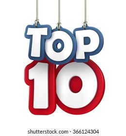 TOP 10 hanging letters on white background