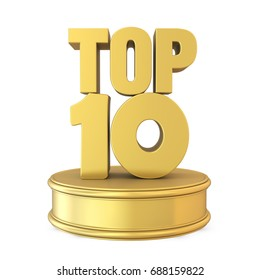 Top 10 on Podium Isolated. 3D rendering