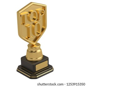 Top 10 trophy isolated on white background. 3D illustration.