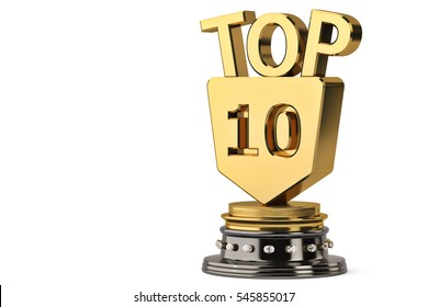 Top 10 trophy,3D illustration.