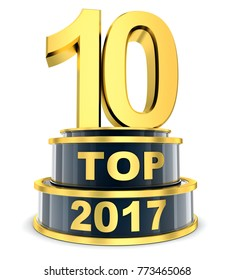 Top 10 of the year 2017. 3d illustration