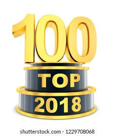 Top 100 of the year 2018. 3d illustration