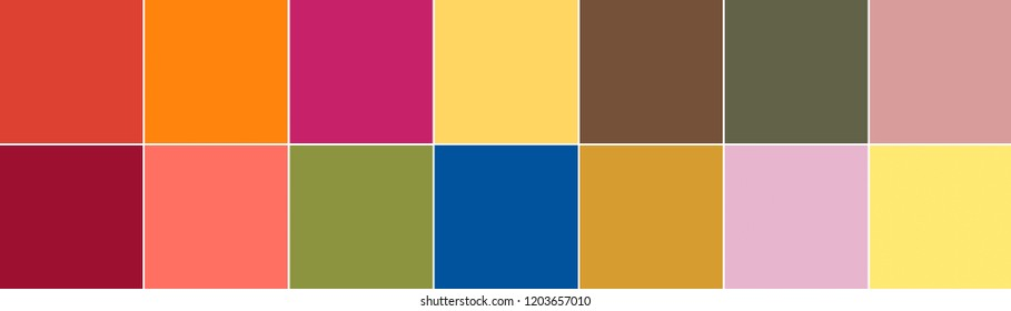 Top 14 colors of the season spring summer 2019 palette. Fashionable colors concept
