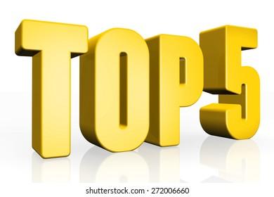 Top 5 - 3d illustration on white background