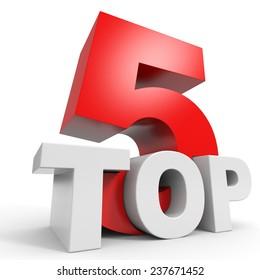 Top 5. Five. 3D illustraion.