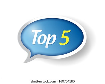 top 5 message bubble illustration design over a white background