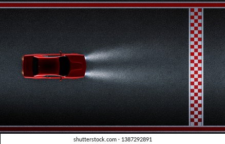 Top aerial angle view of a generic red brandless American muscle car on a asphalt race track with start and finish line . Transportation concept . 3d illustration and 3d render.