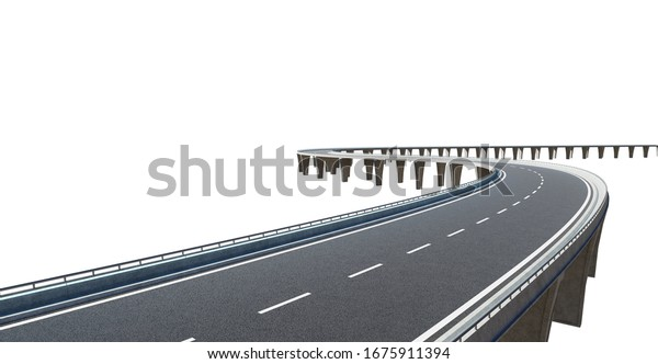 Top angle view of curve asphalt flyover , isolated on white background with clipping path . 3d rendering .