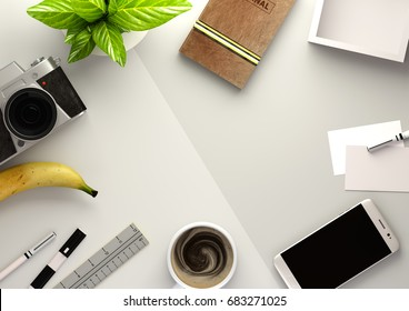 Top down view of a business desktop with a smartphone, office accessories,a journal, coffee and snacks. 3D illustration render.