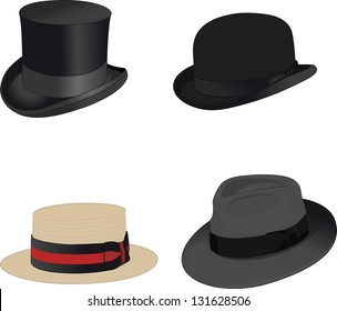 Top hat, bowler hat, boater, fedora