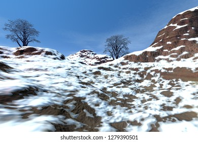 At the top of the mountain, 3d rendering,  a deserted landscape, snowy rocks, beautiful trees and a blue sky.