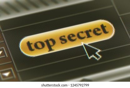 """""""top secret"""" button in the screen. 3D Illustration."""