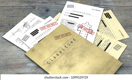Top secret document, declassified, confidential information, secret text. Non-public information. Sheet of paper with classified information. 3d rendering