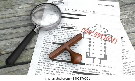Top secret document, declassified, confidential information, secret text. Sheet of paper with classified information. Vatican, church planimetry. Rubber stamp and magnifying glass. 3d rendering