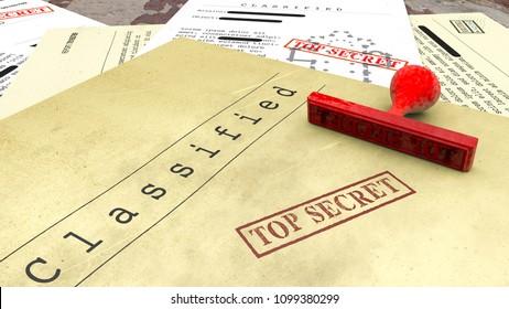 Geheimdokument, Stempel, freigegebene, vertrauliche Informationen, geheimer Text. Nicht öffentliche Informationen. Blatt Papier mit Verschlusssachen. Staatsgeheimnis. 3D-Rendering