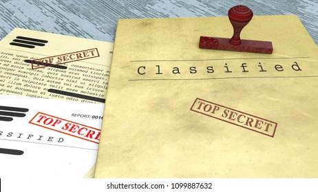 Document secret, cachet, informations confidentielles déclassifiées, texte secret. Information non publique. Feuille de papier contenant des informations classifiées. Secret d'État. Rendu 3d