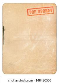 Top secret folder isolated on white background