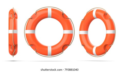 Top, side and perspective view of lifebuoy, isolated on a white background with shadow. 3d rendering set of three orange life ring buoy.