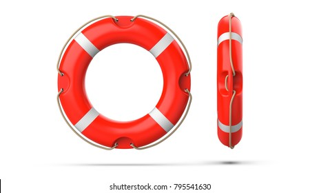 Top and side view of lifebuoy, isolated on a white background with shadow. 3d rendering set of two red life ring buoy.