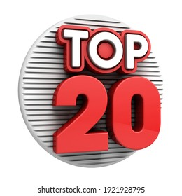 Top twenty. 3d Top 20 red text on white background. 3d illustration.