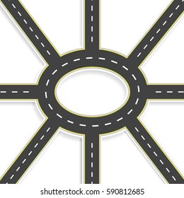 Top view of 3D perspective. Road interchange of eight roads and roundabouts.  illustration