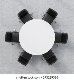 Top view of a 3d rendering conference room. A white round table and six chairs around. Office interior.
