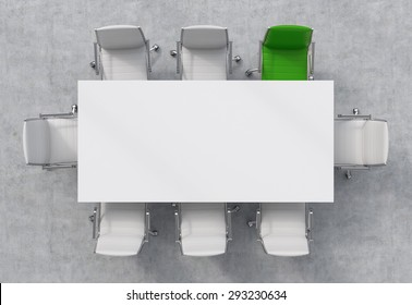 Top View of a 3d rendering conference room. A white rectangular table and eight chairs around, one of them is green. Office interior.