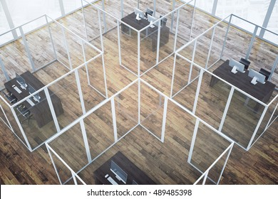 Top view of abstract office interior with framed glass partitions and dark wooden floor. 3D Rendering