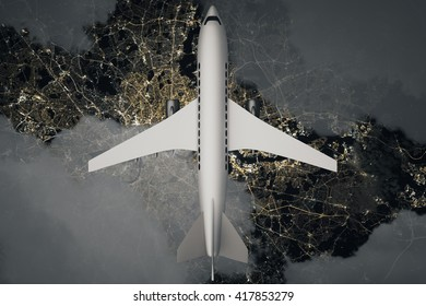 Top view of airplane and clouds above night landscape. 3D Rendering
