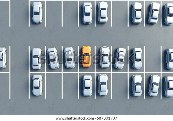 Top View Almost Full Parking 3d Stock Illustration 687801907