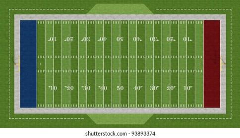 Top view of an american  football field - rendering
