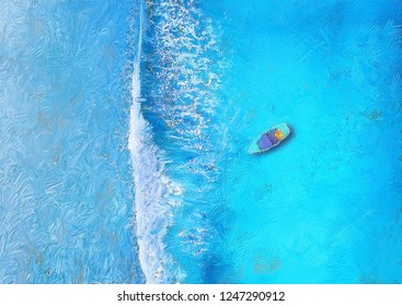Top view artwork of Wave and boat on the beach || digital painting or illustration  summer painting  of sea beach in top view perspective