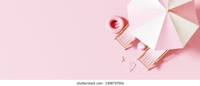 Top view Beach umbrella with chairs and beach accessories on pastel pink background. summer vacation concept. 3d rendering