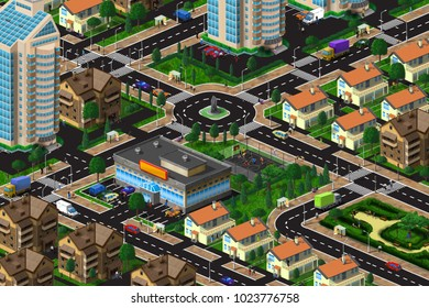 Top view of a beautiful urban area among trees and gardens