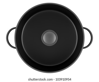 top view of black cooking pan isolated on white background